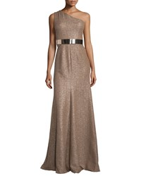 David Meister One Shoulder Belted Metallic Gown Taupe
