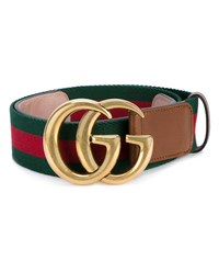 Gucci Web And Logo Canvas And Leather Belt Brown Green Red