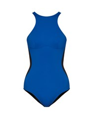 Stella Mccartney Miracle Bi Colour High Neck Swimsuit Black Blue