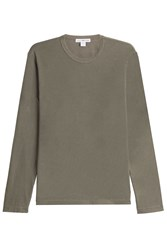 James Perse Long Sleeved Cotton Top Green