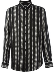 Saint Laurent Star Print Striped Shirt Black