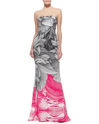 Escada Thilo Westermann Colorblock Floral Gown Black