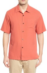 Men's Big And Tall Tommy Bahama 'Catalina Twill' Short Sleeve Silk Camp Shirt Red Earth