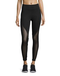 Koral Lucent Mid Rise Mesh Panel Athletic Leggings Black