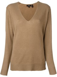 Theory V Neck Fine Knit Jumper Nude And Neutrals