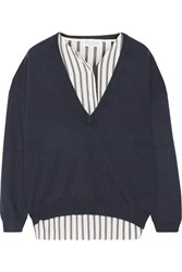 Brunello Cucinelli Layered Embellished Silk And Cashmere Sweater Navy