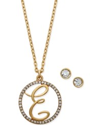 Charter Club Gold Tone Crystal Initial Pendant Necklace And Stud Earring Set Only At Macy's