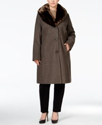 Jones New York Plus Size Faux Fur Collar Walker Coat Walnut
