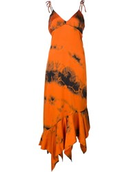 Marques Almeida Marques'almeida Burnt Print Flared Dress Yellow Orange