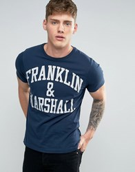 Franklin And Marshall Logo T Shirt Navy