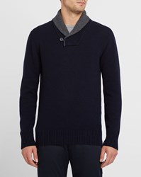 Hackett Navy Sweater With Grey Two Tone Shawl Collar Blue