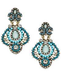 Abs By Allen Schwartz Gold Tone Stone And Crystal Chandelier Earrings