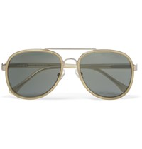Dries Van Noten Aviator Style Metal And Acetate Sunglasses Gold