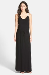 Halogen Crochet Racerback Knit Maxi Tank Dress Black