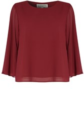 Alice And You Cape Sleeve Top Burgundy