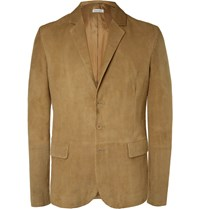 Tomas Maier Camel Slim Fit Unstructured Suede Blazer Brown