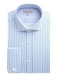 Alexandre Savile Row Gingham Twill Tailored Fit Formal Shirt Light Blue