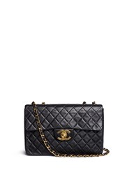 Wgaca Vintage Chanel Quilted Lambskin Leather Maxi Flap Bag Black