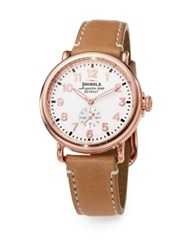 Shinola Runwell Rose Goldtone Pvd Stainless Steel And Leather Strap Watch Rose Gold Orange