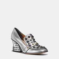 Coach High Vamp Loafer With Studs Silver