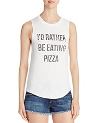 Knit Riot I'd Rather Be Eating Pizza Graphic Tank Compare At 59.99 White