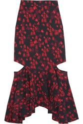 Givenchy Cutout Ruffled Midi Skirt In Floral Print Stretch Satin Red
