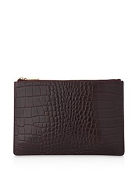 Whistles Small Shiny Croc Embossed Clutch Oxblood