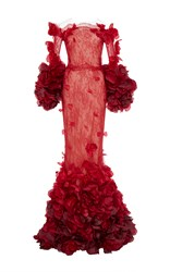 Marchesa Ombre Chantilly Lace Fishtail Gown Red
