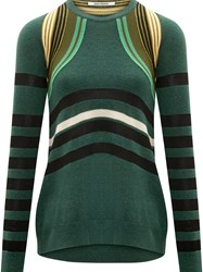 Paco Rabanne Ottoman Striped Sweater Green