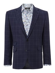 New And Lingwood Gelt Ticket Pocket Blazer With Elbow Patches Dark Blue