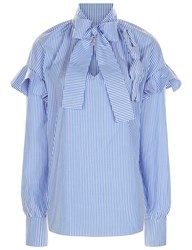 A.W.A.K.E. Blue Stripe Bunny Brooch Shirt Striped