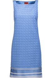 Missoni Crochet Knit Mini Dress Light Blue