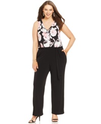 Ny Collection Plus Size Sleeveless Printed Wide Leg Jumpsuit Black Floral Multi