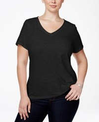 Inc International Concepts Plus Size V Neck Tee Deep Black