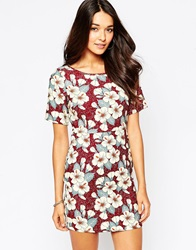 Yumi Floral Print Shift Dress Red