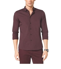 Michael Kors Slim Fit Dot Print Cotton Shirt Bordeaux