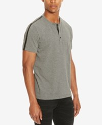 Kenneth Cole Reaction Men's Henley With Faux Leather Trim Flannel Heather
