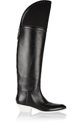 Alexander Wang Lovanni Mesh Trimmed Knee Leather Boots Black