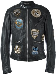 Dolce And Gabbana Musical Patch Leather Jacket Black