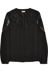 Alice By Temperley Dawn Embroidered Tulle Paneled Crepe Blouse
