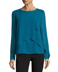 Long Sleeve Chiffon Overlay Top Blue