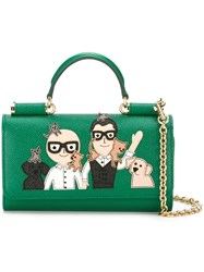 Dolce And Gabbana Mini 'Von' Wallet Crossbody Bag Green