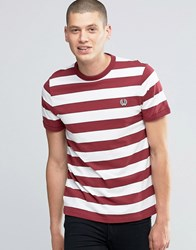 Fred Perry T Shirt With Stripes In Snow White Maroon Sn Wh Mar