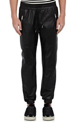 Ovadia And Sons Men's Leather Jogger Pants Black