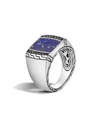 Men's Classic Chain Silver Signet Ring With Blue Lapis John Hardy