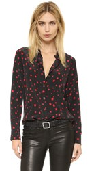 Equipment Kate Moss Slim Signature Clean Blouse True Black Cherry Red