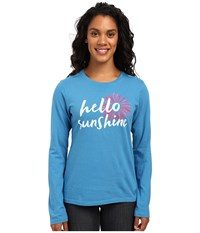 Life Is Good Hello Sunshine Daisy Long Sleeve Crusher Tee Denim Blue Women's Long Sleeve Pullover