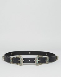 Asos Leather Double Buckle Turq Stone Waist And Hip Belt Black