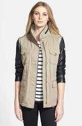 Vince Camuto Faux Leather And Cotton Anorak Sand