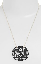 Women's Moon And Lola Large Oval Personalized Monogram Pendant Necklace Ebony Gold Nordstrom Exclusive